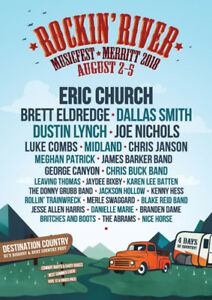 3 single day tickets to Sunday at Rockin River Fest