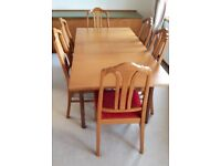 Extendable table + 6 Parker Knoll chairs + worktop sideboard