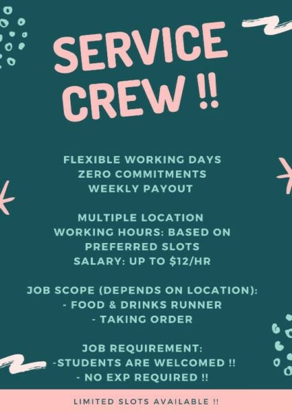 FAST HIRE SERIVCE CREW    WEEKLY PAID    UP TO $12/HR