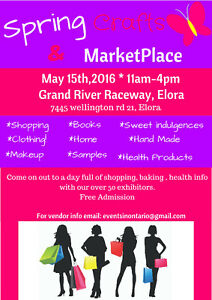 May craft and marketplace Elora- Vendor space available.