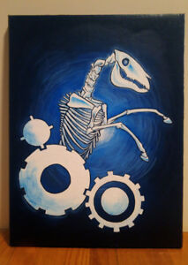 Crazy Work Horse - 12 inch by 16 inch Acrylic Painting