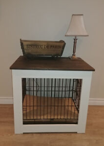 Custom wood cabinet with dog crate - mint condition