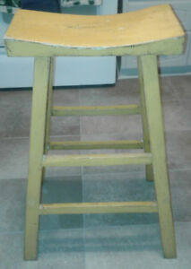 Yellow 2-rung wood stool - rustic style - handmade
