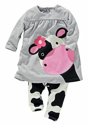 2pcs Toddler Baby Girls Long Sleeve Cow Tops+Pants Kids Cotton Clothes - Cow Outfits