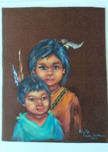 "Painting of Two Indigenous Children,Unique,Delightful 7 ¾"" x 10"""