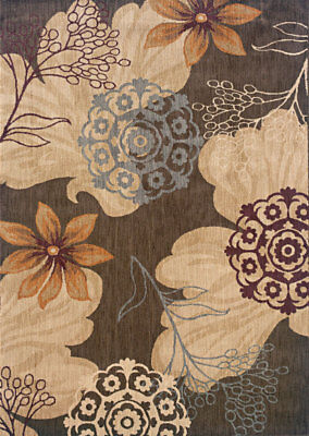 Brown Floral Machine Made Flowers Branches Area Rug 2870B - Aprx 5'3