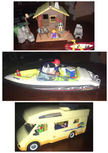3 playmobil sets (cabin, camper, boat).  $60 for the Lot