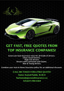CAR INSURANCE! CALL FOR A FREE QUOTE (647)-986-6464