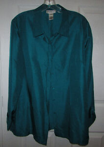 TRIBECA 100% SILK Teal Green Tunic Blouse - Size 14