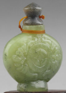OLD NATURAL HETIAN JADE SNUFF BOTTLE HAND CARVED