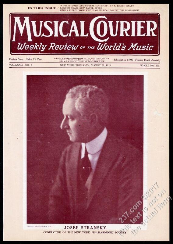 1919 Josef Stransky photo Musical Courier framing cover