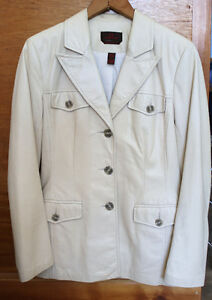 Danier leather tailored jacket cream color-med