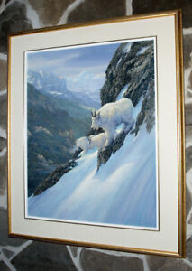 Bill Munzie original oil on board Mountain Goats