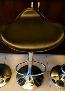 Stainless Steel Black Faux Leather Bar Stools Chairs