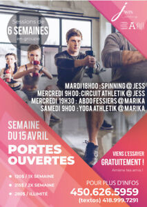 Cours de groupe Fitness, Yoga & Spinning à Longueuil