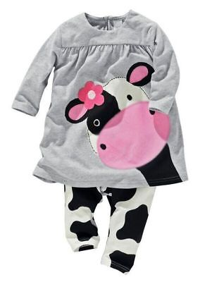 2pcs Kids Baby Girls Long Sleeve Outfits Cow Tops+Pants Kids Cotton Clothes - Cow Outfits