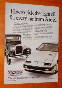 1984 VALVOLINE OIL AD WITH NISSAN 300ZX & FORD MODEL AD - ANONCE