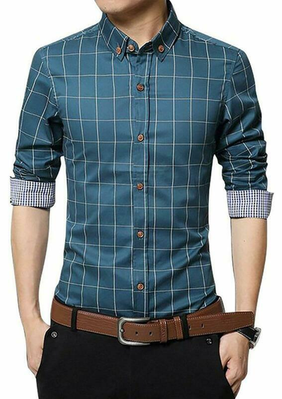 Men's 100% Cotton Long Sleeve Plaid Slim Fit Button Down Dre