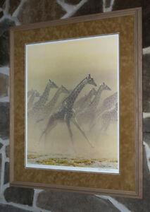 Robert Bateman Galloping Giraffes limited edition framed
