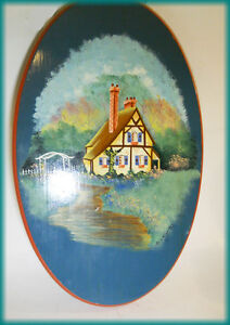 1994 PAINTED Picture on Wood - Signed - Folk Art