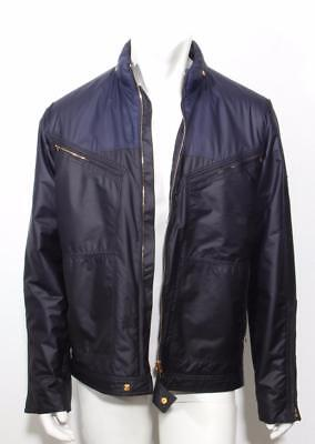 LOUIS VUITTON Mens Navy Lightweight Gold Zipper LV Windbreaker Jacket Coat 42-52