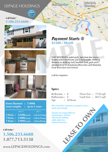 LEASE TO OWN --- starting at 1200$/month