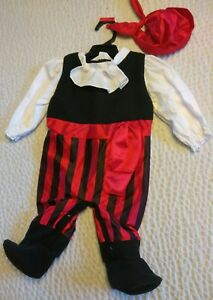 infant baby halloween pirate costume 0-9 months with bandana hat
