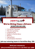 Hiring Full Time Class 1 Drivers:  Accommodations Provided!
