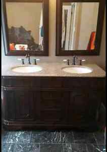 "60"" solid wood double sink vanity with granite top"