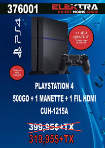 376001....CONSOLE PLAYSTATION 4....( 500 GO ) ....$319.95