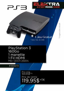 369273....CONSOLE PLAYSTATION 3....( 160 GO ) ....$119.95