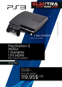 380569.....CONSOLE PLAYSTATION 3....( 160 GO ) ...$119.95