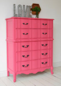Hot Coral Pink French Provincial Tall Boy Dresser