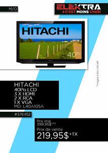376452....TÉLÉVISION HITACHI LCD ( 40 pouces ) ....$219.95