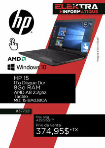 377021...ORDINATEUR PORTABLE HP...$374.95