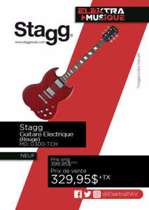 NEUF....GUITARE ELECTRIQUE STAGG ROUGE ....$329.95