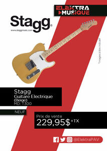 NEUF....GUITARE ELECTRIQUE STAGG....( BEIGE ).....$229.95