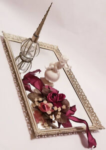 Vintage Filigree Mirror Vanity Perfume Tray, Wall Mirror