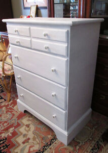 Beautiful White Vintage Wood Tallboy with Elegant Hardware.