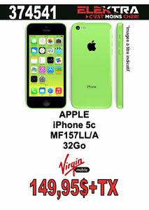 374541...TÉLÉPHONE CELLULAIRE APPLE ( IPHONE 5c) $149.95