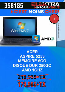 358185...ORDINATEUR PORTABLE ACER ....$179.95