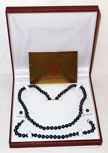 Brand New Genuine cultured black pearl jewelry set with box COA