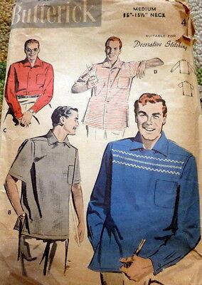 VTG 1950s MENS SHIRT BUTTERICK Sewing Pattern MEDIUM CHEST 38-40