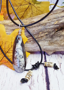 Kraken Fossil Geeky Stone Jewelry, Protection Amulet Necklace