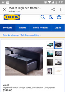 Ikea Queen bed frame with storage --- Malm -- Dark brown