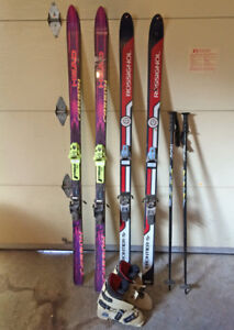 Head Carbon & Rossignol Frontier S Downhill Skis + Poles, Boots