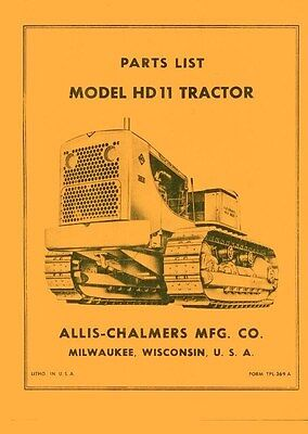 Allis Chalmers Hd11 Hd-11 Crawler Parts List Manual