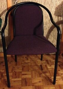 Set of two black metal frame chairs