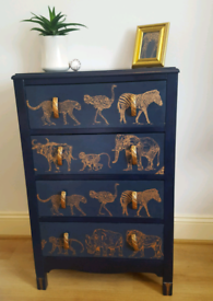 Upcycled vintage Lebus style chest of 4 drawers