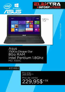 374664... ORDINATEUR PORTABLE ASUS .....$229.95